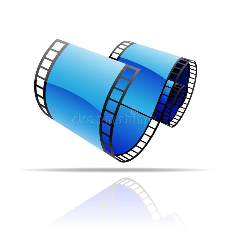 Bobina di film blu illustrazione di stock