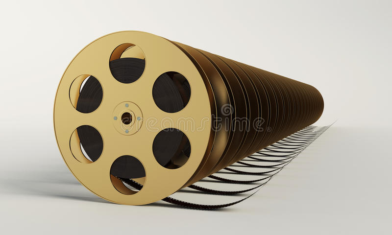 Bobina di film con una striscia di pellicola illustrazione di stock