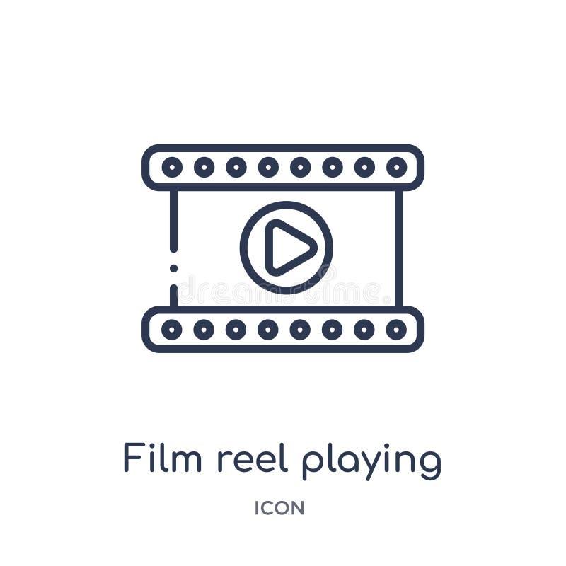 Bobina di film lineare che gioca icona dalla raccolta del profilo del cinema Bobina di pellicola a alto contrasto sottile che gio royalty illustrazione gratis