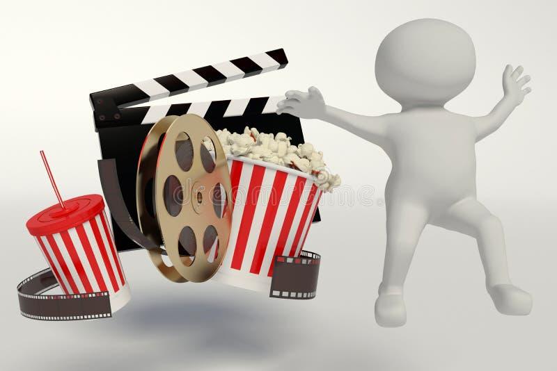 Bobina di film, popcorn, striscia di film, tazza eliminabile per le bevande con royalty illustrazione gratis