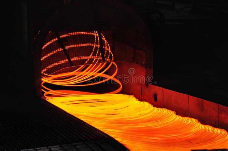 Bobina do moinho de rolamento do fio que forma colocando a cabeça fotografia de stock