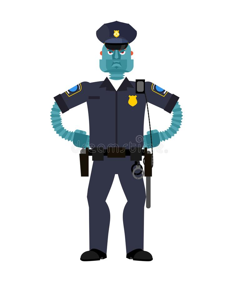 Bobina do robô Cyborg do polícia Futuro robótico do homem de Police do oficial ilustração stock