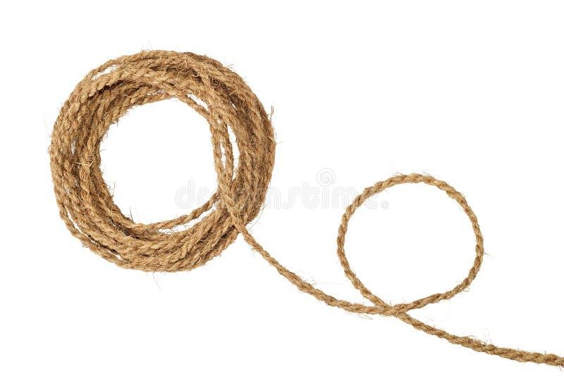 Bobina grosseira natural da corda da fibra fotos de stock royalty free