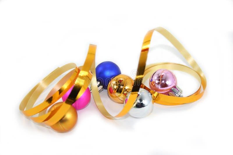 Bobinador de cintas en modo continuo encrespado con las burbujas de la Navidad foto de archivo