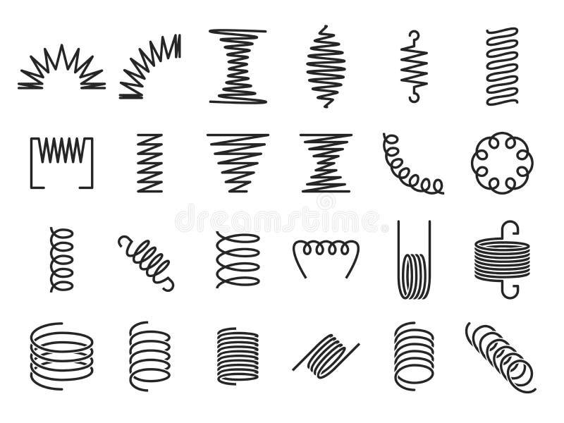 Bobinas de la primavera Las primaveras espirales del metal, la bobina metálica y los espirales lineares siluetean el sistema del  libre illustration