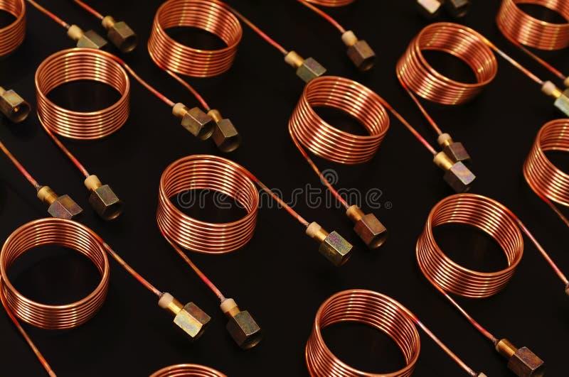 Bobinas del tubo de cobre foto de archivo