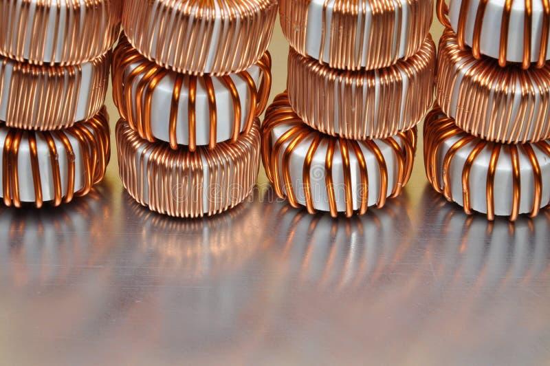 Bobinas eléctricas del cobre imagen de archivo libre de regalías