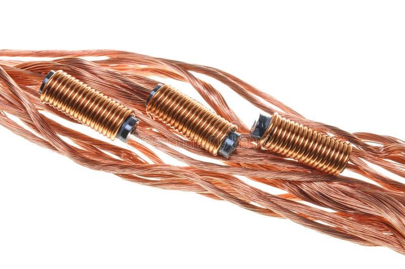 Bobinas y alambres del cobre imagen de archivo libre de regalías
