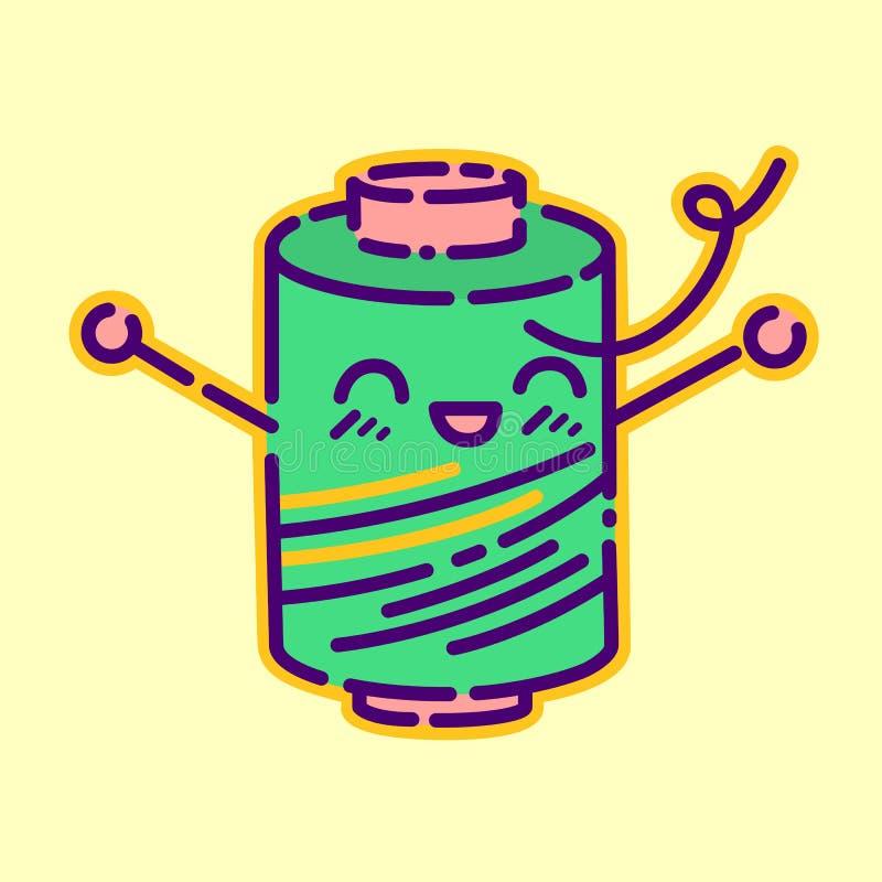 Bobine d'insigne de fil, signe plat de style de conception de kawaii mignon, icône de couturière, personnage de dessin animé de v illustration stock