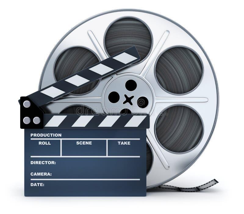 Bobine de bardeau et de film sur le fond blanc illustration de vecteur