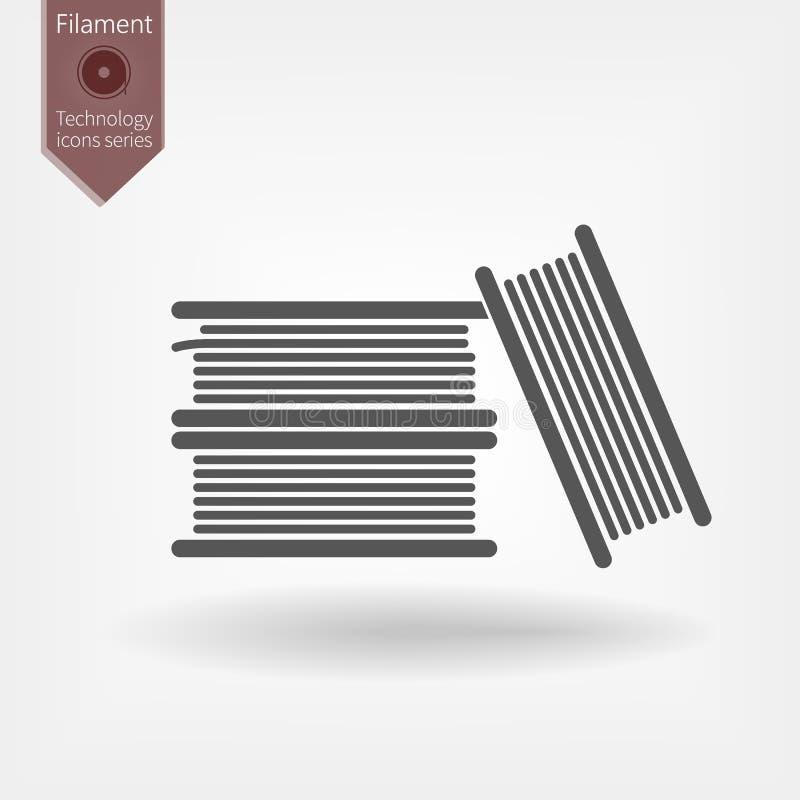 Bobine de filament pour la ligne d'impression 3D icône illustration libre de droits