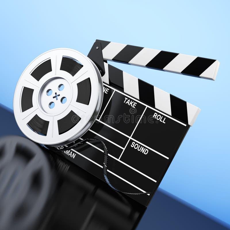 Bobine de film avec la bande de cinéma près du bardeau rendu 3d illustration de vecteur