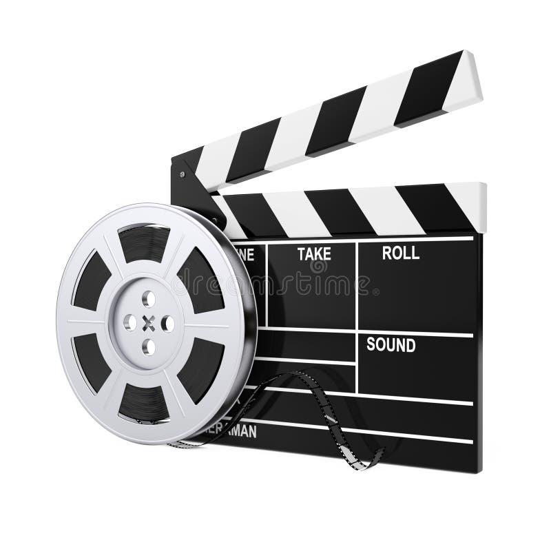 Bobine de film avec la bande de cinéma près du bardeau rendu 3d illustration libre de droits