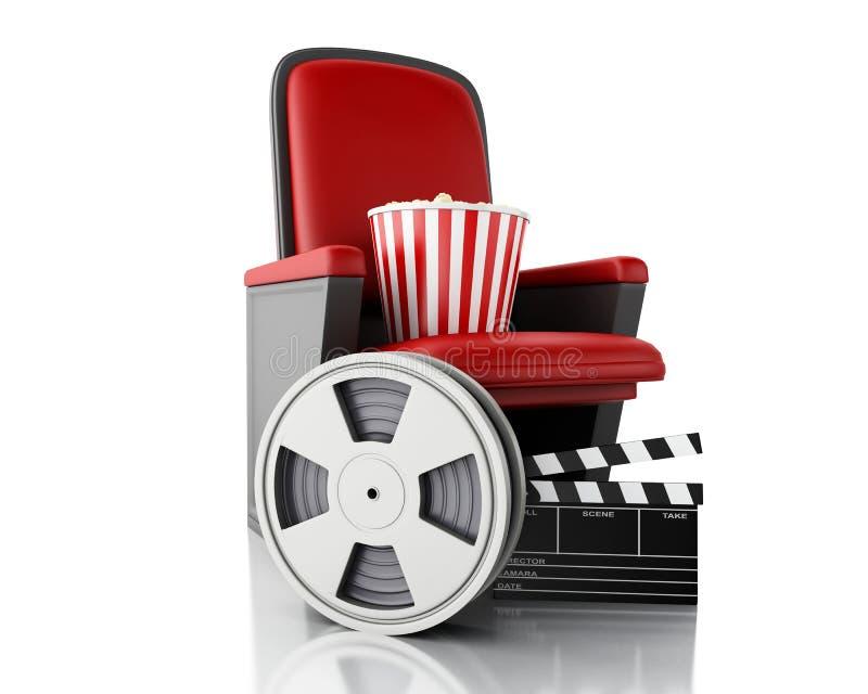 bobine de film 3d, maïs éclaté et panneau de clapet de cinéma sur le siège de théâtre illustration libre de droits