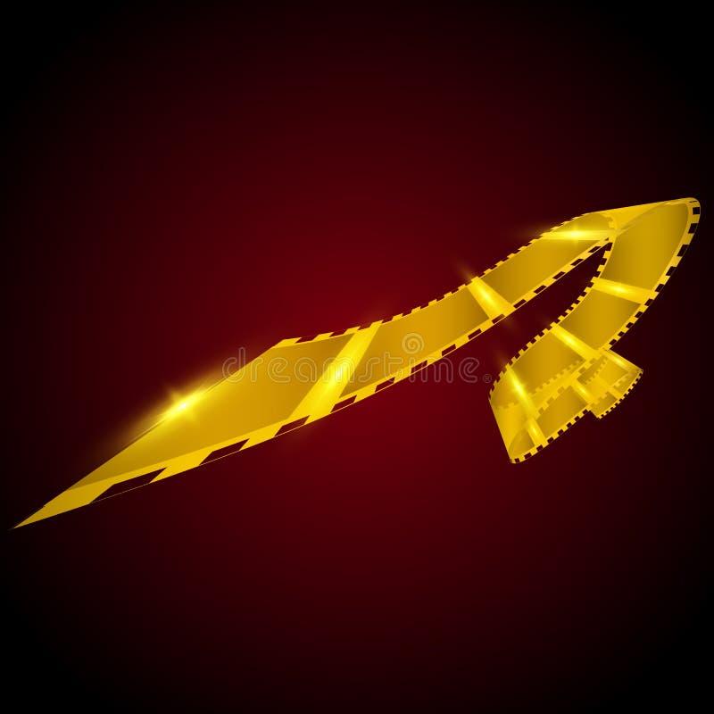 Bobine de film d'or sur le fond rouge 35 film millimètre Récompense d'or illustration de vecteur
