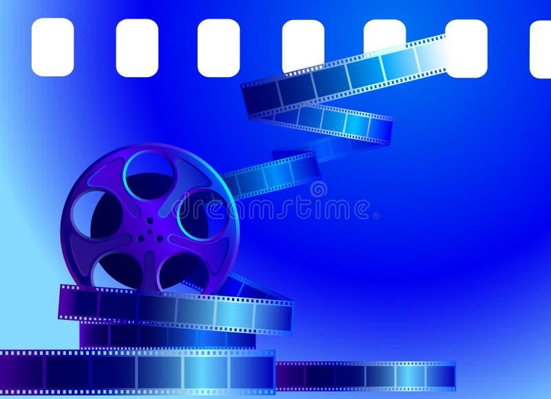 Bobine de film sur un fond bleu illustration de vecteur