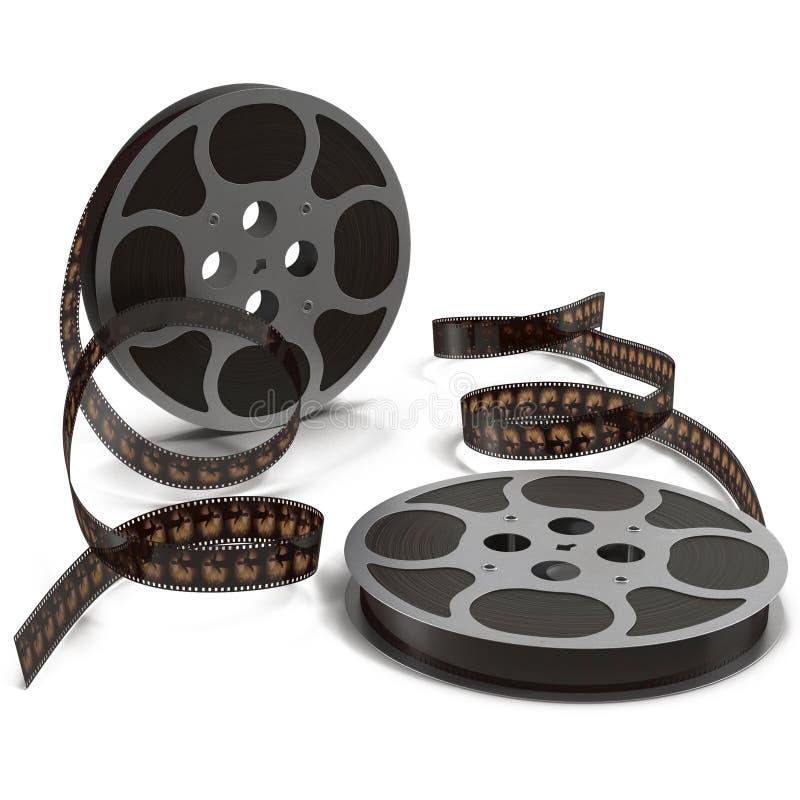 Bobine de pellicule cinématographique sur l'illustration 3D blanche illustration de vecteur
