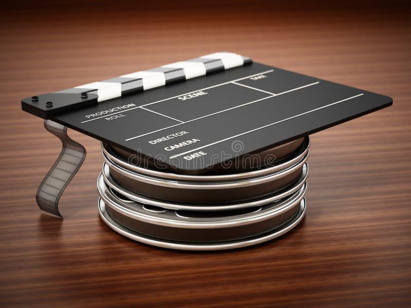 Bobine di film, assicella e rotolo di film sistemato come il cappuccio di graduazione illustrazione 3D royalty illustrazione gratis