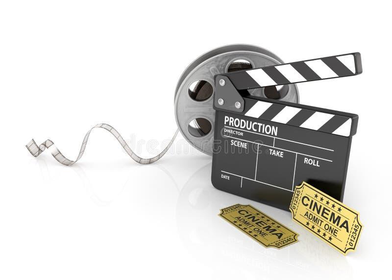 Bobine di film, biglietti e bordo di valvola illustrazione vettoriale