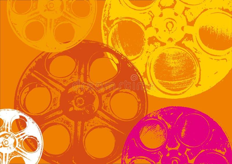 Bobine di pellicola arancioni illustrazione vettoriale