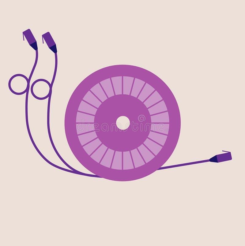 Bobine en forme d'escargot originale avec des fils pour le câblage de réseau illustration stock