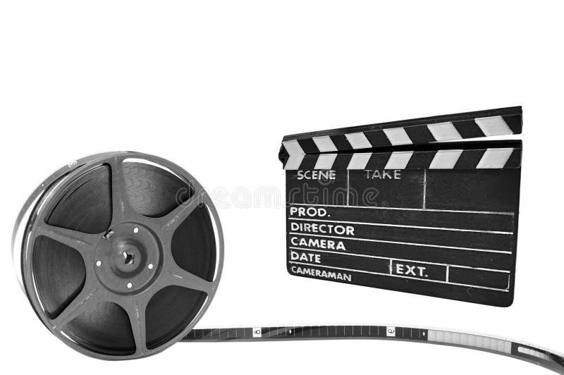 bobine noire en métal de film de clapperboard de backgr photos stock