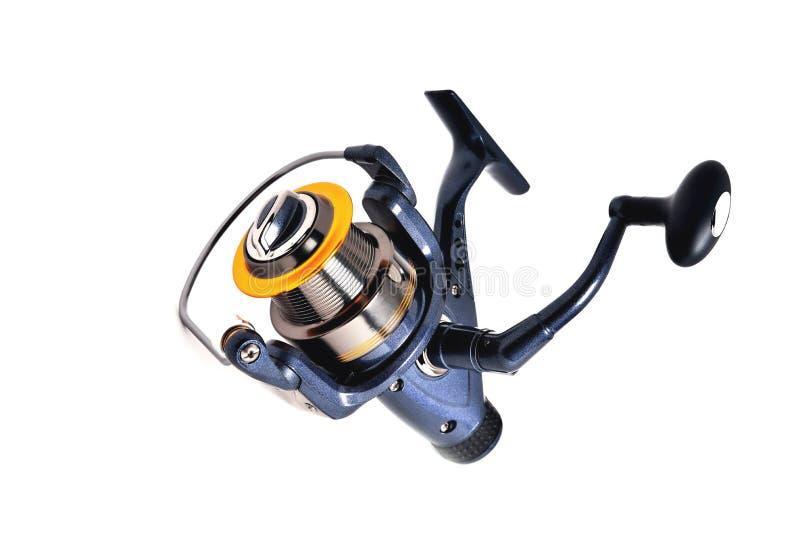 Bobine pescando a cor azul com inércia no fim-u branco do fundo imagens de stock