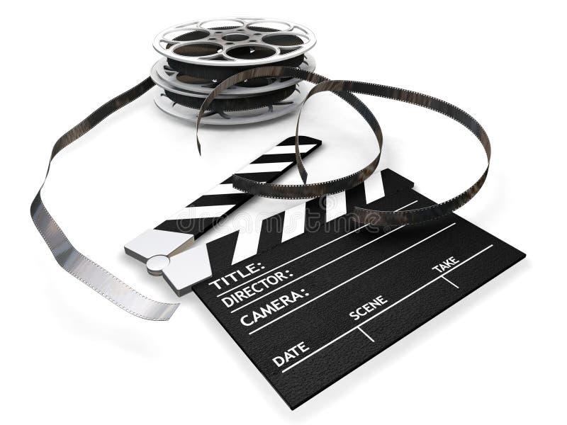 Bobines de film et panneau de clapet illustration stock