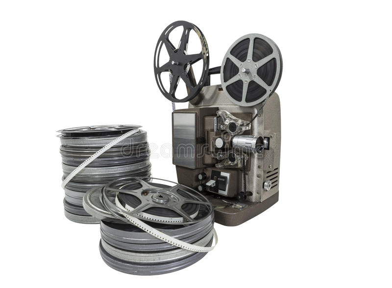 Bobines et projecteur de pellicule cinématographique de vintage d'isolement photographie stock libre de droits