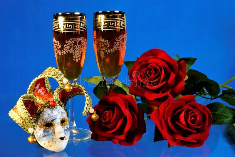 Bobo da corte da máscara do carnaval, feriado, vinho e divertimento, festividades fotos de stock royalty free