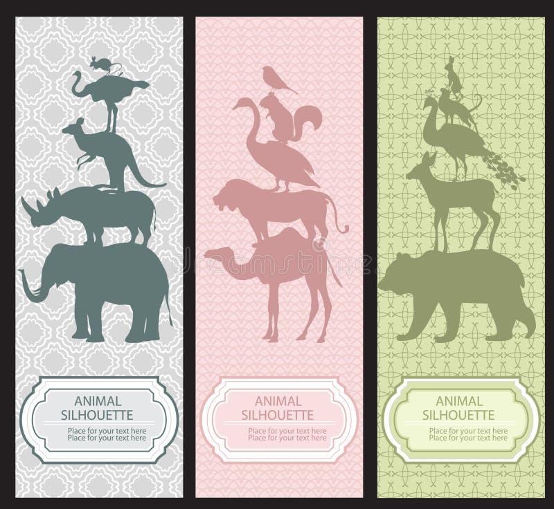 BoBokmarks med djura silhouettes vektor illustrationer