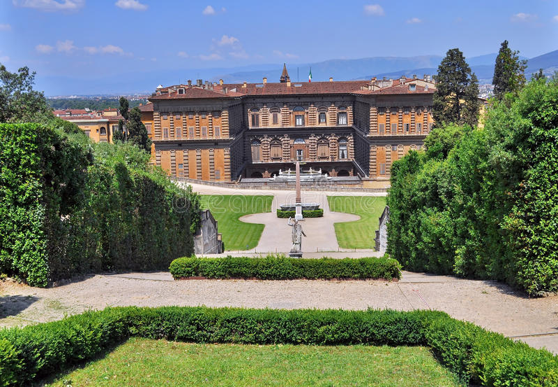 Boboli庭院和Pitti宫殿 图库摄影
