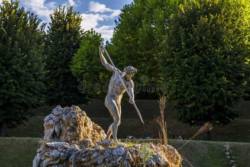 Boboli庭院在佛罗伦萨,海王星喷泉 意大利 图库摄影