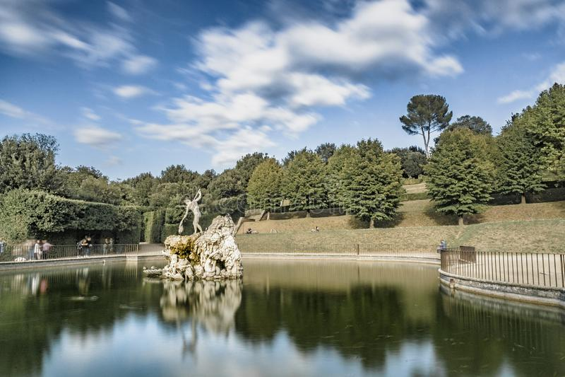 Boboli trädgård i Florence Italy arkivbilder