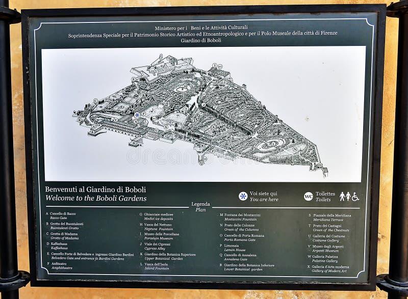 Boboli trädgårdar och Pitti slottöversikt arkivfoto