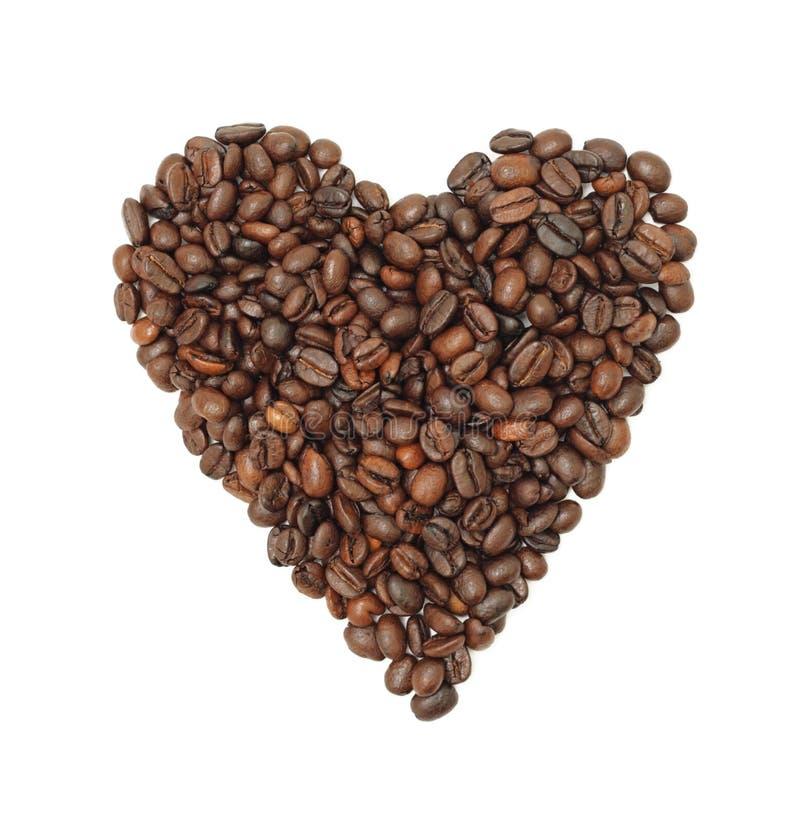 bobowy kawowy serce odizolowywał fotografia royalty free