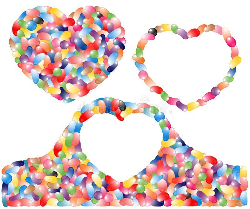 bobowych serc galaretowy cukierki royalty ilustracja