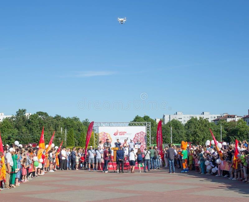 Bobruisk Bielorrusia 06 03 2019: El cuadrado central de la retransmisión en conceder y la ignición del fuego de los juegos europe fotos de archivo libres de regalías