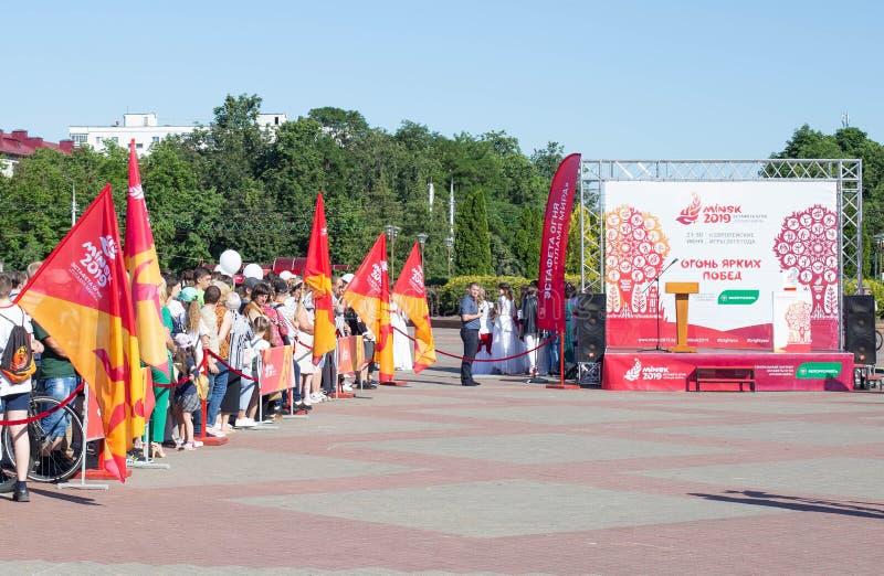 Bobruisk Bielorussia 06 03 2019: Preparazione sul quadrato centrale per bruciare il fuoco dei giochi europei di 2019 immagine stock