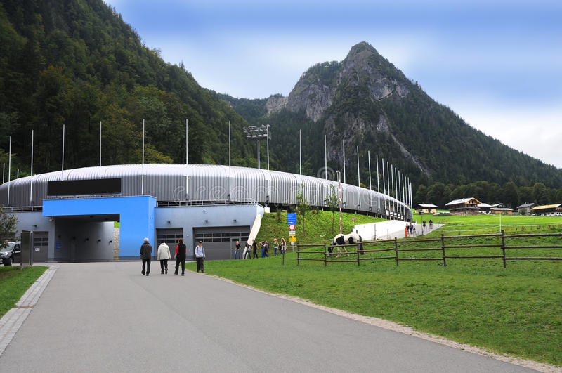 Bobsled luge and skeleton track at Königssee stock photo
