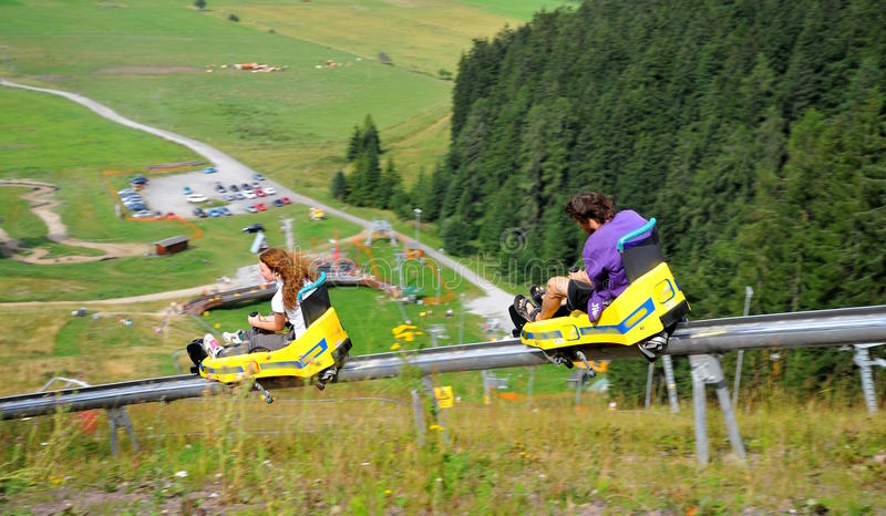 On the bobsled run stock photography