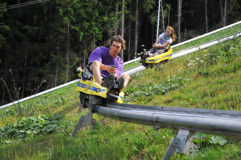 Download On the bobsled run stock image. Image of together, cart - 14577321