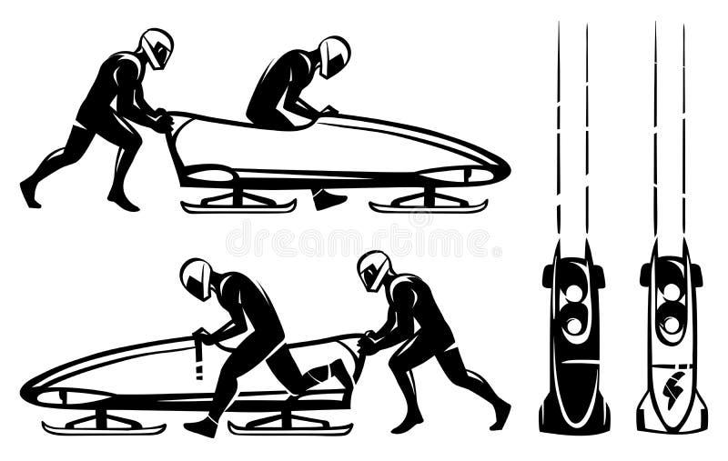 Bobsleigh et deux athlètes dans le profil Illustration tirée par la main illustration libre de droits