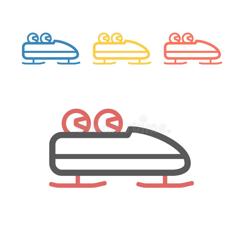 Bobsleigh line icon. Vector signs for web graphics. stock photos