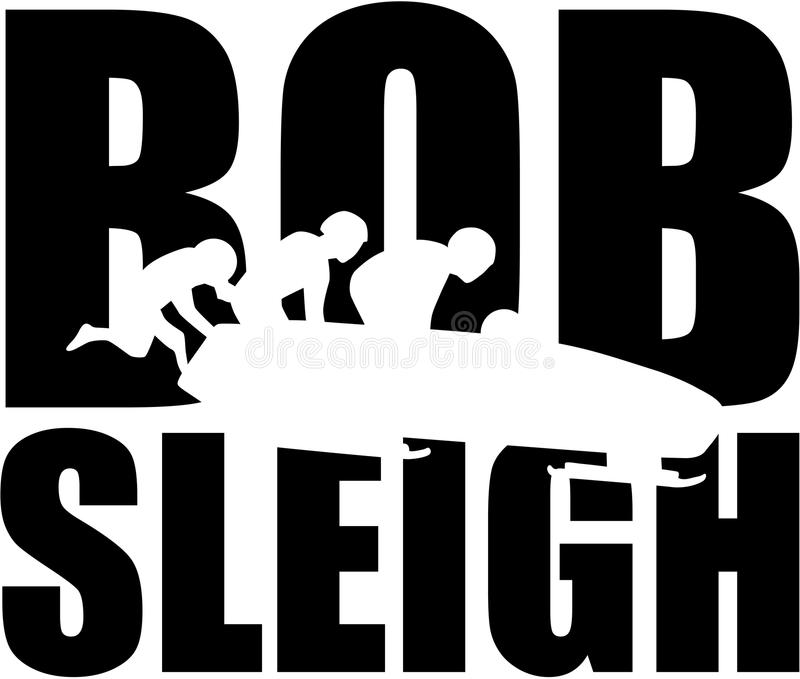 Bobsleigh word with silhouette of bob team royalty free illustration