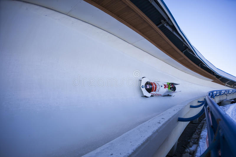 Bobsleigh World Cup Calgary Canada 2014. CALGARY CANADA, DEC 21 2014 : FIBT Viessmann Bobsleigh and Skeleton World Cup in Calgary Olympic Park royalty free stock images