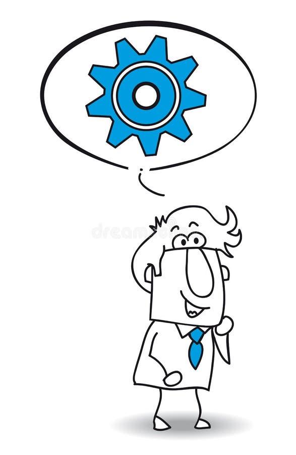 Boby que o homem de negócios pensa ilustração do vetor