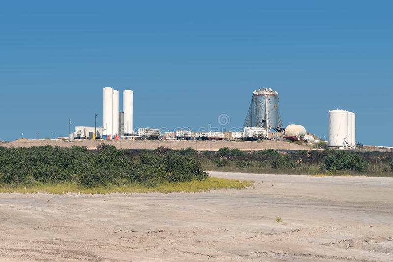 Boca Chica Village, Texas / United States - August 16, 2019: A view of SpaceX`s Starhopper Starship prototype.  royalty free stock photography