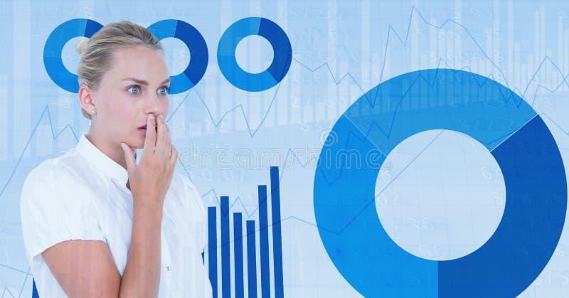 Boca chocada da coberta da mulher de negócios contra gráficos imagens de stock royalty free