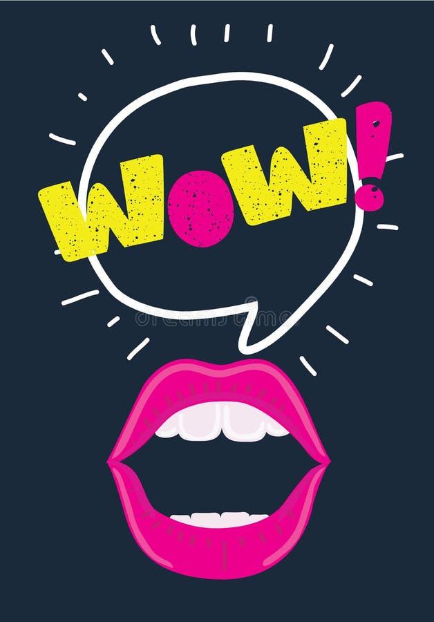Boca com bolha do discurso O wow e os bordos fêmeas no pop art denominam o conceito para o anúncio ou o cartaz Ilustração do veto ilustração stock